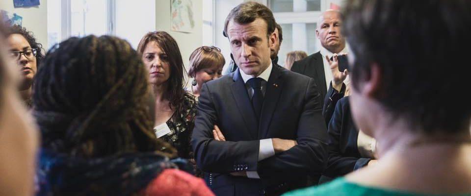 Emmanuel Macron lors d'une rencontre avec des Français en début mars 2019